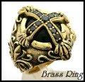 Brassナイトクロスオニキスリング