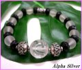 【alpha silver】天然石8mmフロスト水晶×カットオニキス数珠ブレス龍紋水晶付 サイズS/M/L