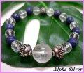 【alpha silver】天然石8mmラピスラズリ×カット水晶数珠ブレス龍紋水晶付 サイズS/M/L