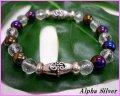 【alpha silver】天然石8mmオニキスオーラ×カット水晶数珠ブレス サイズS/M/L