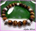【alpha silver】天然石8mmタイガーアイマルチスカル数珠ブレス サイズS/M/L