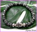 【alpha silver】天然石8mmカットヘマタイト数珠ブレス サイズS/M/L
