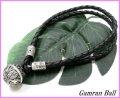 ガムランボール付き編み紐ブレス 黒