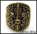 Brass百合紋ジュエルリング ブラックジルコニア