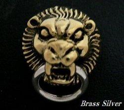 画像1: Brass×Silver925ライオン ドロップハンドル