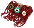ネパール製 手編みロングウールマフラー エンジ