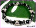 【alpha silver】天然石8mmカットオニキス×カットヘマタイト数珠ブレス サイズS/M/L