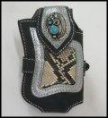牛革×蛇革パイソンmix携帯ケース メタルコンチョ付