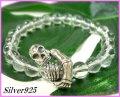 【Bu-boon】天然石8mm水晶silverスカル数珠ブレス