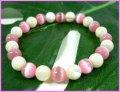 マザーオブパール8mm×キャッツアイ(ピンク)数珠ブレス