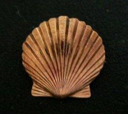 画像1: 銅コンチョ 貝殻 ループ式 直径 16mm