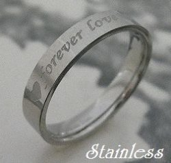 画像1: ステンレス メッセージリング Forever Love 永遠の愛