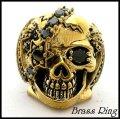 Brassパイレーツスカルオニキスリング