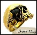 Brassオニキス入りスカルリング